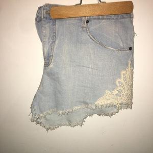 Mossimo denim lace shorts sz 18